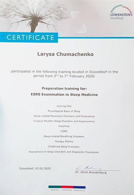 Чумаченко Лариса - сертификат ESRS Examination in Sleep Medicine Lowenstein