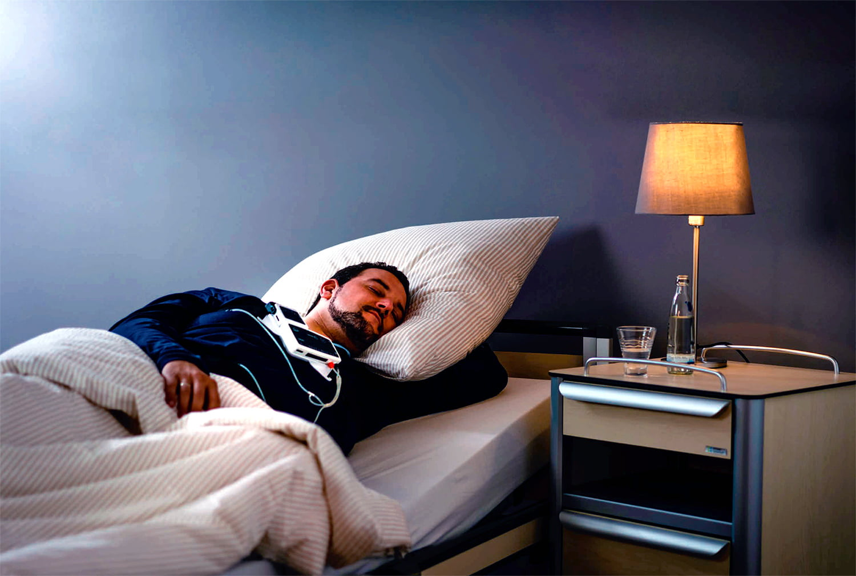 Так выглядит полисомнография (диагностическая ночь, обследование сна в клинике), палата лаборатории сна