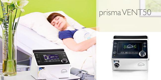 Аппарат для неинвазивной и инвазивной вентиляции легких Prisma VENT 50 - для вентиляционной терапии наивысшего уровня.