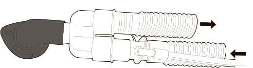 Двухтрубочная система с раздельным вдохом и выдохом и с клапаном выдоха со стороны аппарата