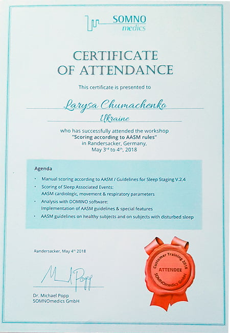 Чумаченко Лариса - сертификат Scoring according to AASM rules Certificate of attendance