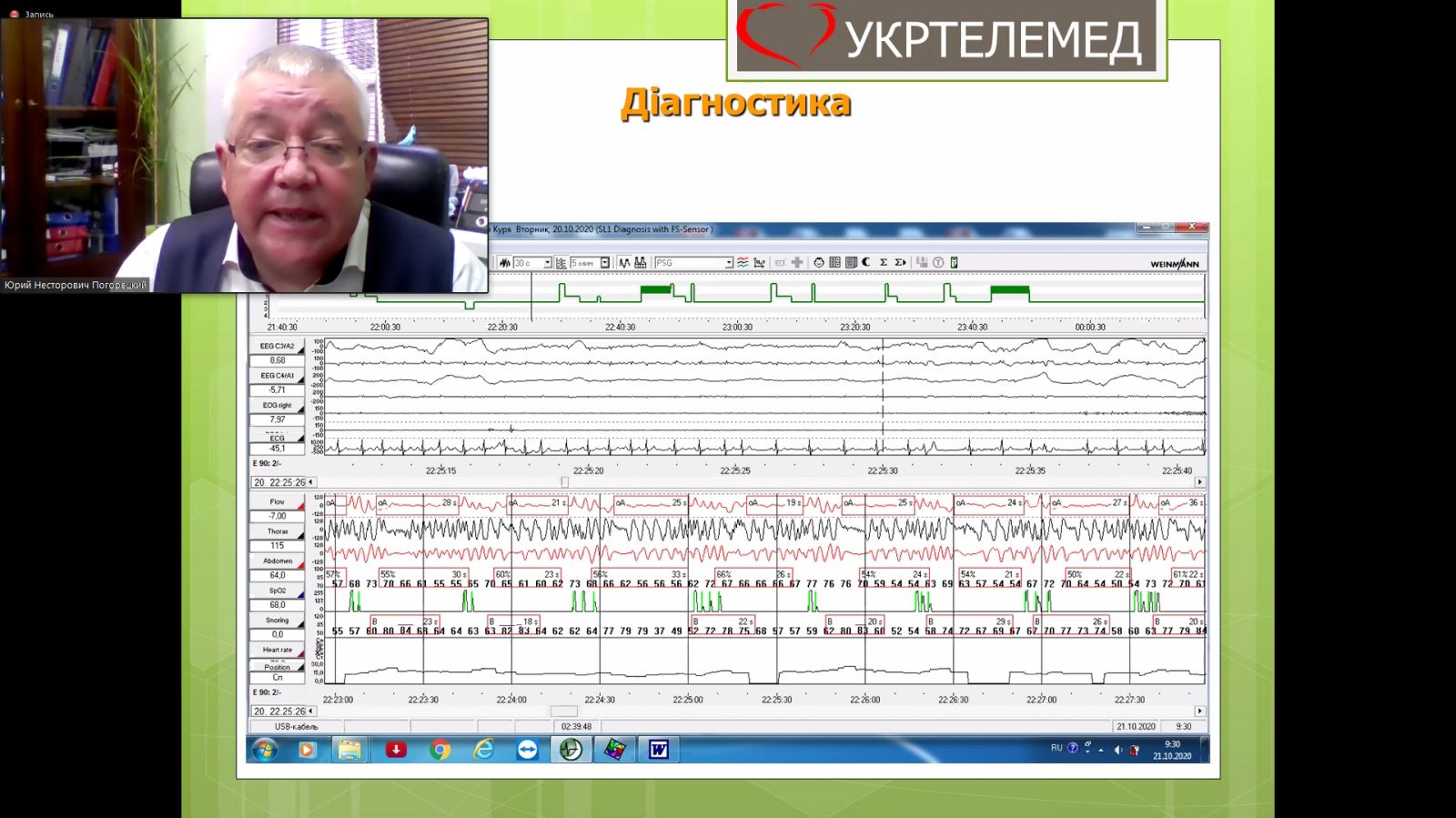 Онлайн навчання: лікар-сомнолог Погорецький Юрій Несторович проводить онлайн-лекцію по діагностиці храпу та апное, інших порушень дихання