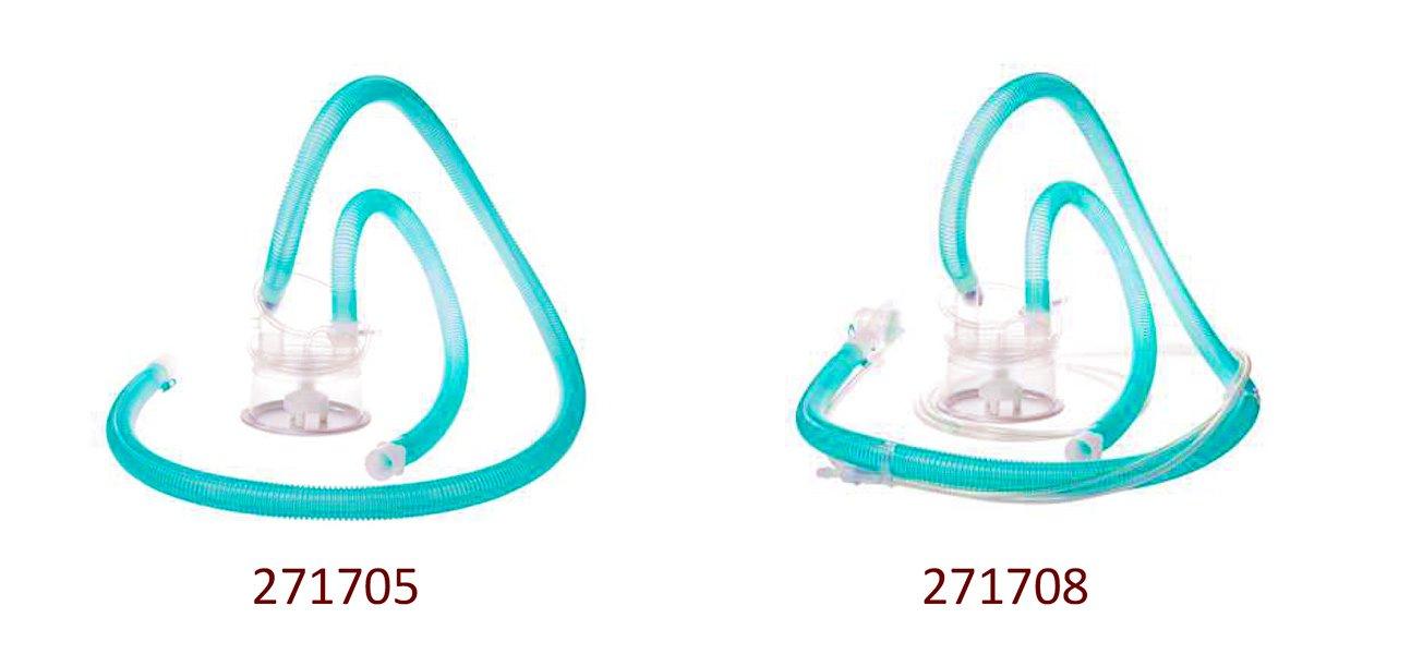 271705: Контур с утечкой для высокопоточной терапии, с подогревом (i), автозаполнением камеры, пассивным клапаном, разъемом для назальной канюли HFT (150 см + 60 см. Ø 22 мм) 271708: Одинарный контур с клапаном, с подогревом (i), автозаполнением камеры, для Prisma VENT AQUA или AIRcon (150 см + 60 см. Ø 22 мм)