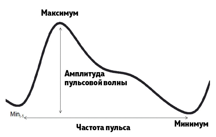 Рис.1 Расчет параметров пульсовой волны амплитуды пульсовой волны (PWA) и частоты пульса (PR)