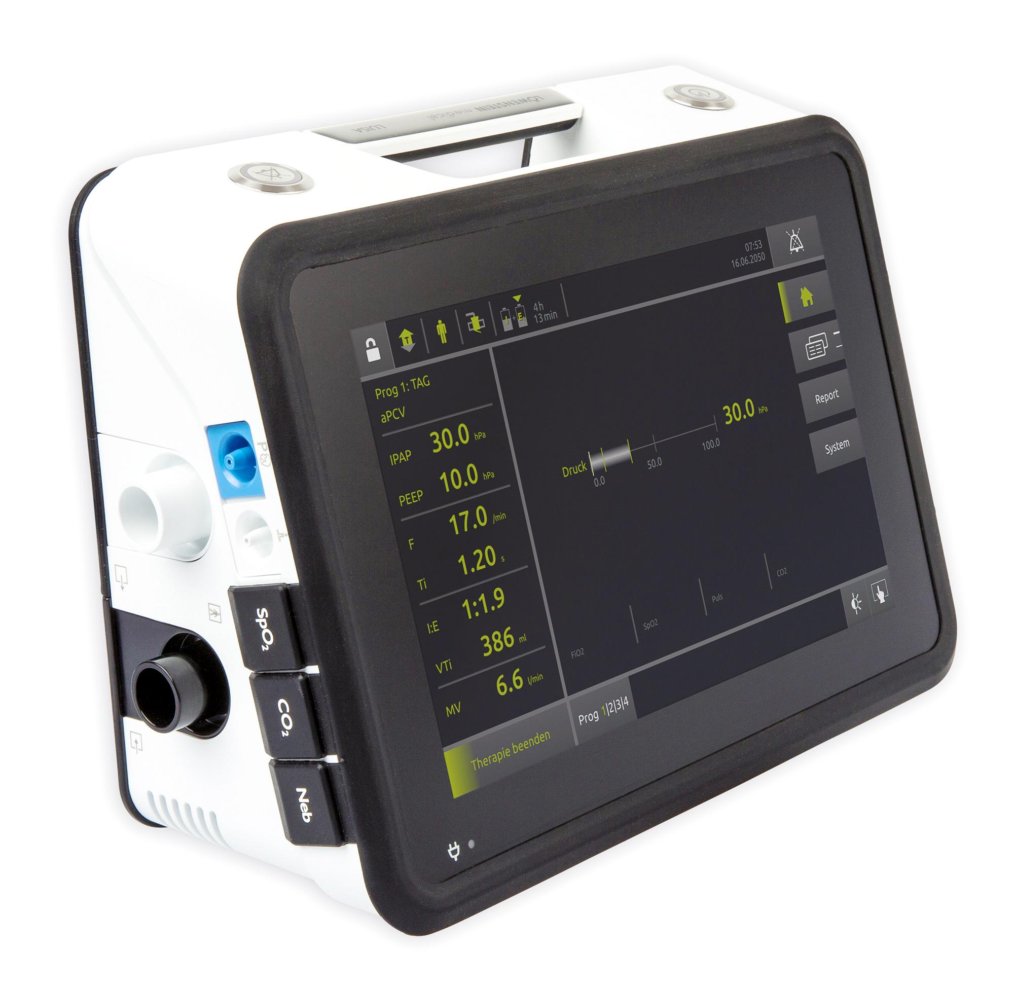 LUISA – новый высокоэффективный аппарат искусственной вентиляции легких компании Löwenstein Medical – обеспечивает теперь именно это для пациентов с ИВЛ-терапией. Аппарат ИВЛ LUISA отличается особо высокой мобильностью, компактностью и легкостью.